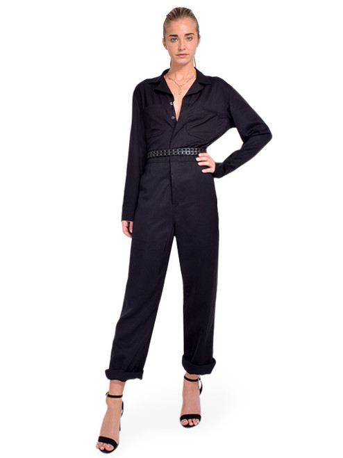 RTA Amber Jumpsuit in Black Belted Front View X1https://cdn11.bigcommerce.com/s-3wu6n/products/33639/images/111516/DSC_0951__57393.1608759661.244.365.jpg?c=2X2