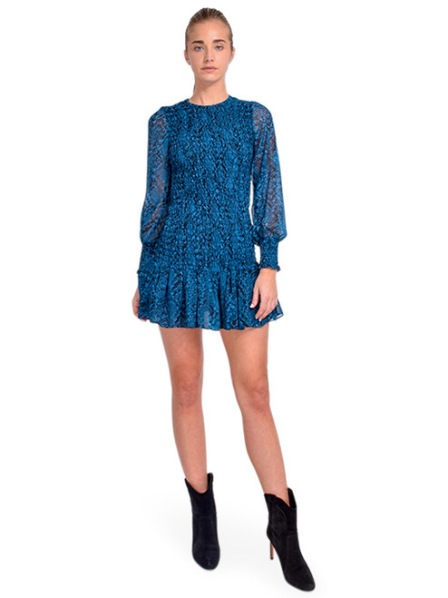 MISA Roisin Dress in Teal Snake Front View  X1https://cdn11.bigcommerce.com/s-3wu6n/products/33680/images/111639/DSC_0638__15045.1608772773.244.365.jpg?c=2X2