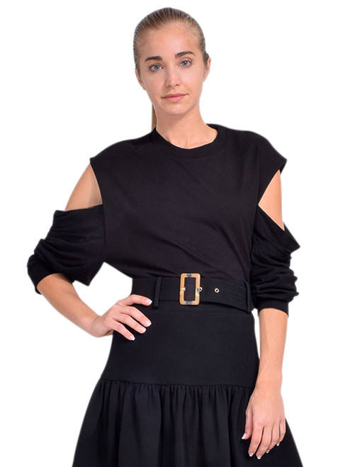 RTA Capucine Cutout Shoulder Top in Black Front View  X1https://cdn11.bigcommerce.com/s-3wu6n/products/33720/images/111868/DSC_0828_Full__73047.1611028167.244.365.jpg?c=2X2