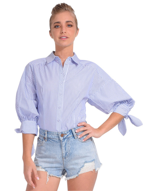 Cinq à Sept Teresa Tie Cuff Top Front View  x1https://cdn11.bigcommerce.com/s-3wu6n/products/33830/images/112448/DSC_0873_Full__57182.1616554991.244.365.jpg?c=2x2