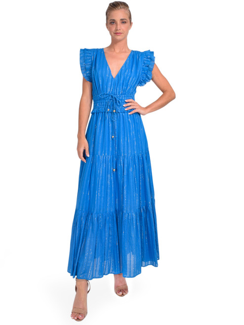 Karina Grimaldi Karla Metallic Dress in Blue Front View x1https://cdn11.bigcommerce.com/s-3wu6n/products/33929/images/112936/DSC_0180__22619.1619032786.244.365.jpg?c=2x2