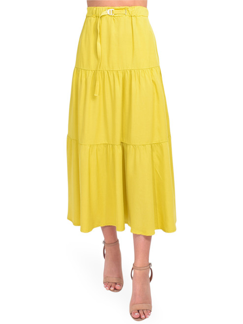 WHITE SAND Tiered Midi Skirt in Chartreuse Front View x1https://cdn11.bigcommerce.com/s-3wu6n/products/33932/images/112958/DSC_0399__46675.1619034555.244.365.jpg?c=2x2