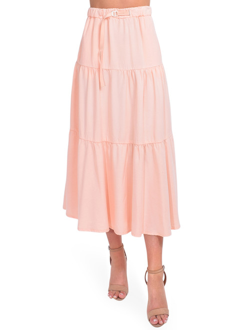 WHITE SAND Tiered Midi Skirt in Peach Front View x1https://cdn11.bigcommerce.com/s-3wu6n/products/33933/images/112943/DSC_0375_Full__51177.1619032978.244.365.jpg?c=2x2