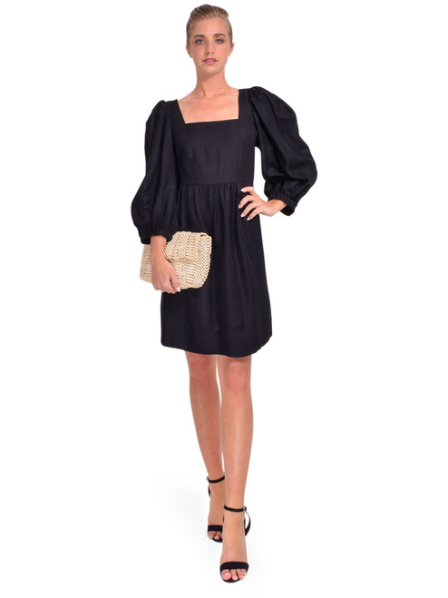 BA&SH Palerme Dress in Noir Front View x1https://cdn11.bigcommerce.com/s-3wu6n/products/33937/images/112975/DSC_0131__19515.1619044287.244.365.jpg?c=2x2