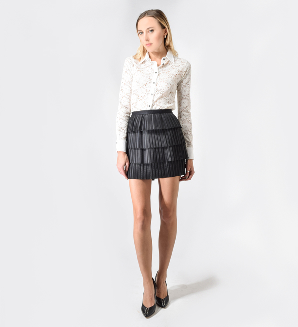 Sea Black Pleated Taffeta Skirt