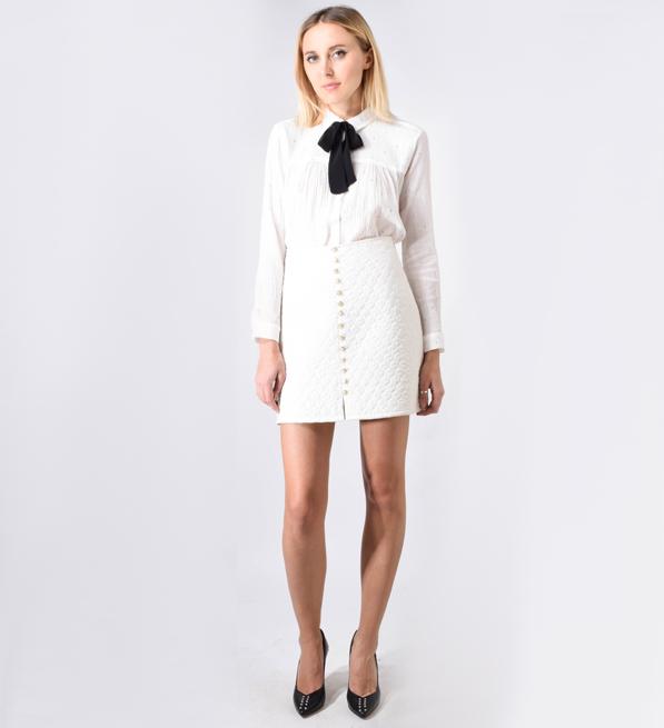Carmella Esther Pean White Buttoned Skirt