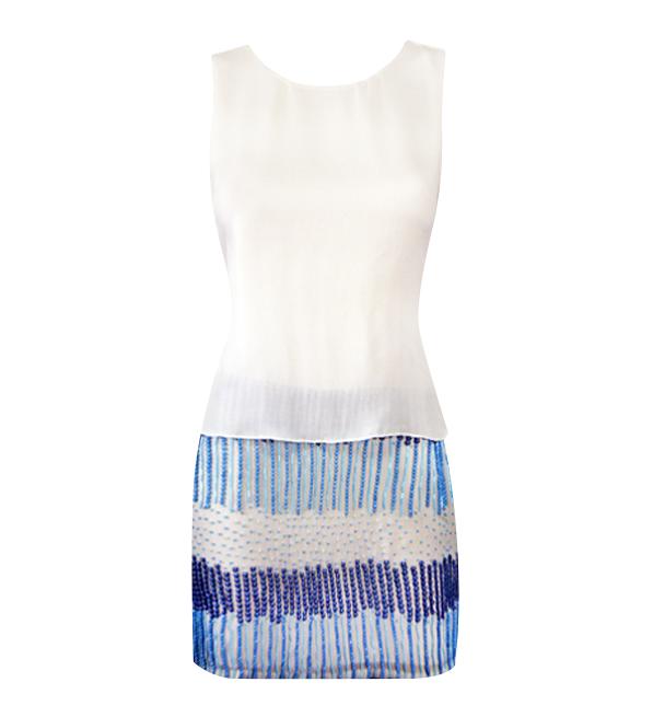 Parker White & Blue Sequined Grace Dress