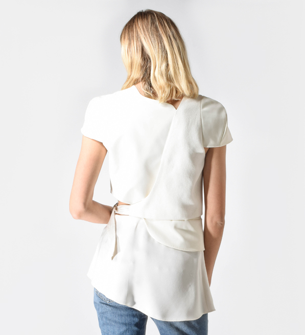 3.1 Phillip Lim Cream Wrap Tunic Top With Belt