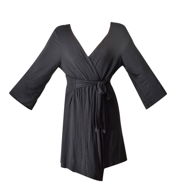 Samantha Chang Black Jersey Short Robe