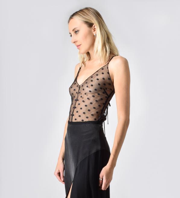 Sam & Lavi Lace Polka Dot Nicola Camisole in Black