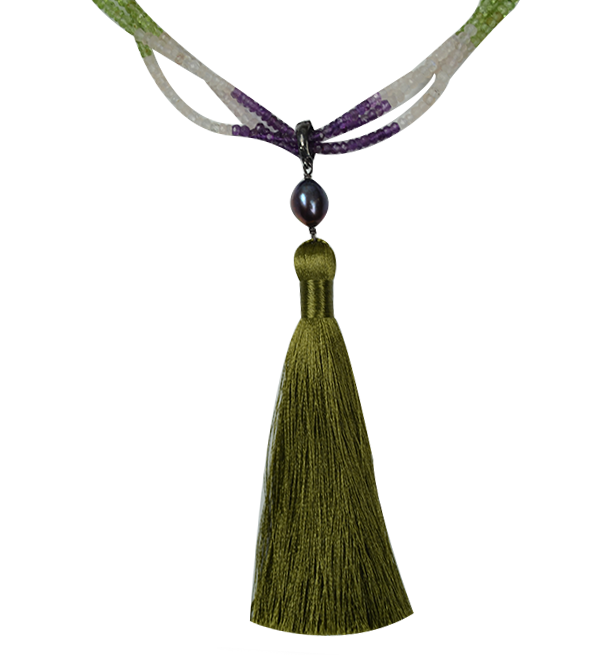 Multi Stone Tassel Necklace