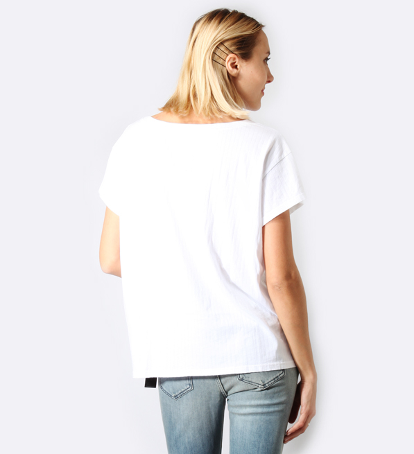 RTA Jade Short Sleeve Tee Shirt in Powder White