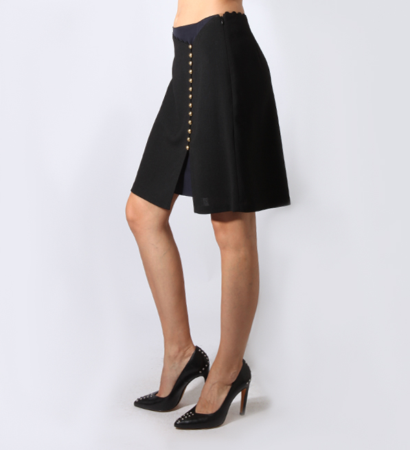 Skirt with Button Detail in Black