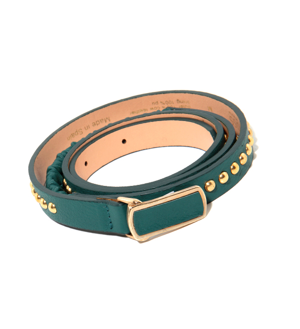 Hoss Teal Belt with Gold Studs