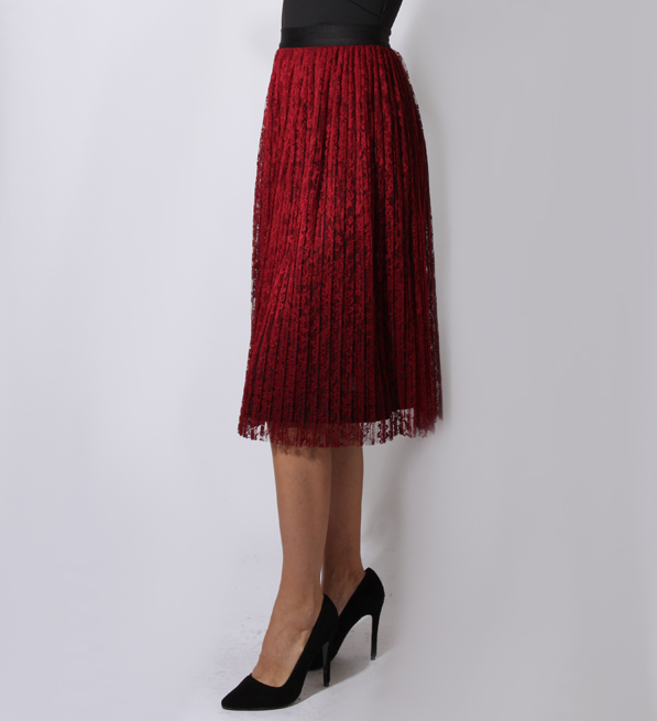 Alice + Olivia Mikaela Pleat Lace Midi Skirt