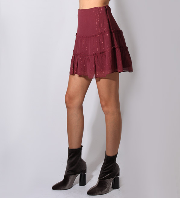 Sam & Lavi Sophia Lurex and Chiffon Skirt in Wine
