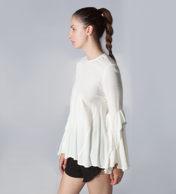 Rebecca Vallance Ivory Flagler Frill Sleeve Top