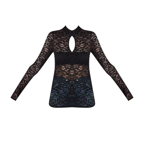 Calvin Rucker Be With You Lace Top in Black