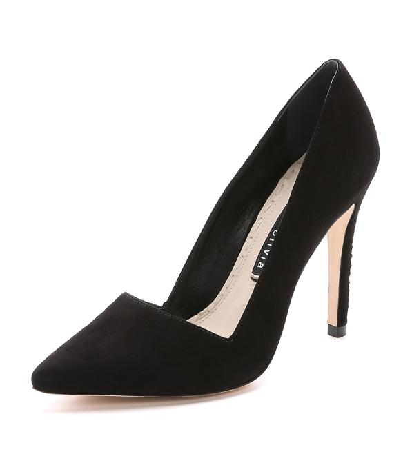 Alice + Olivia Dina Suede Heels in Black