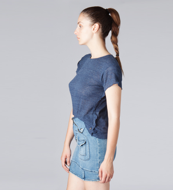 Ottod'Ame T-shirt with Back Ruffle in Indigo