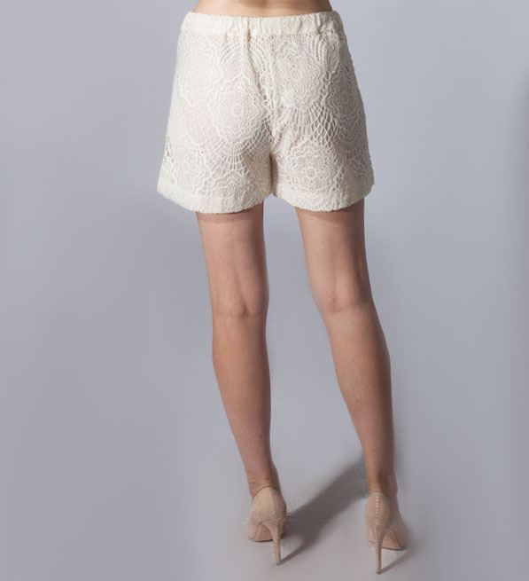 Ottod'Ame Lace Shorts with Striped Embroidery