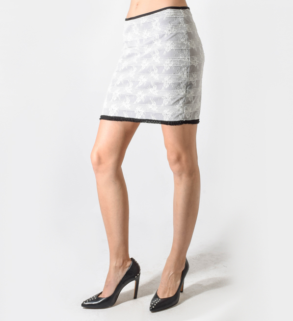 Calvin Rucker Heart of Glass Lace Mini Skirt