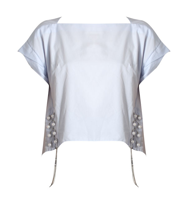 3.1 Phillip Lim Short Sleeve Bateau Top with Pearl Chain