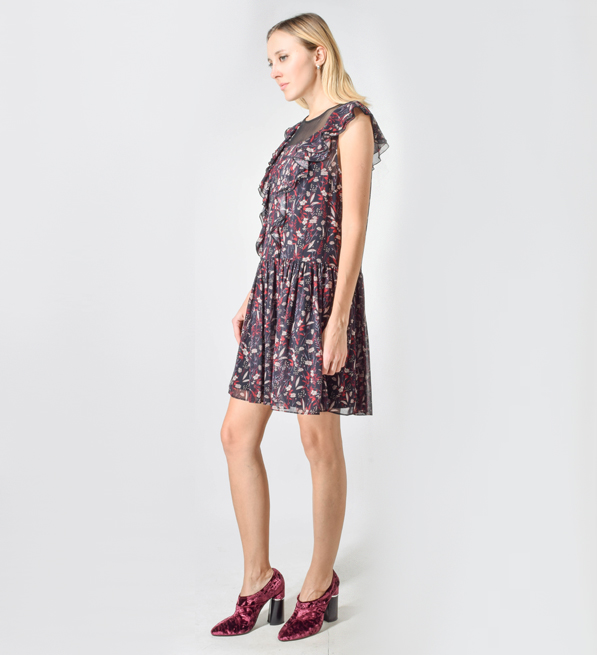 Tara Jarmon Forest Flower Ruffle Mini Dress