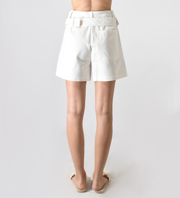 3.1 Phillip Lim Belted Cargo Shorts with Large Flap Pockets in Antique White