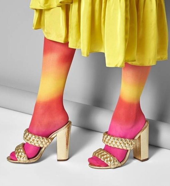 "Happy Socks ""Hysteria"" Mia Print Knee High Sock in Pink & Yellow"