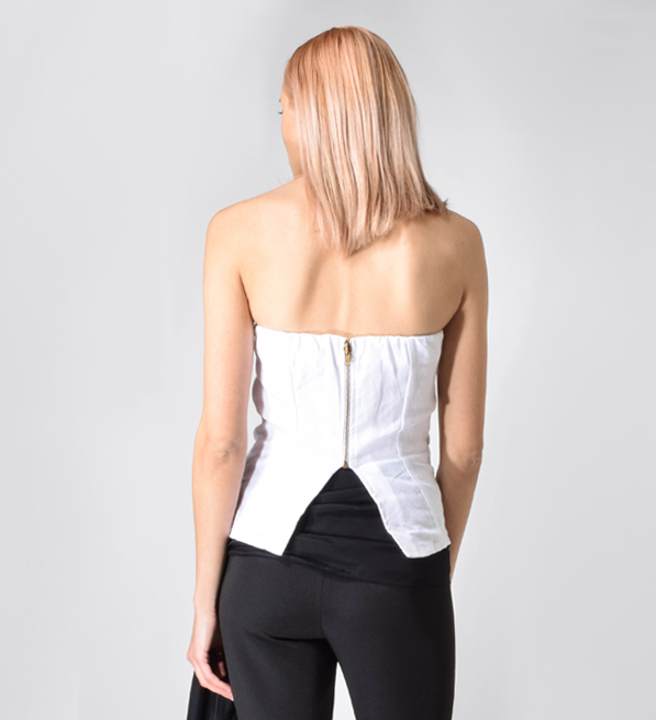 MLM Label Nirvana Strapless Wrap Top in White
