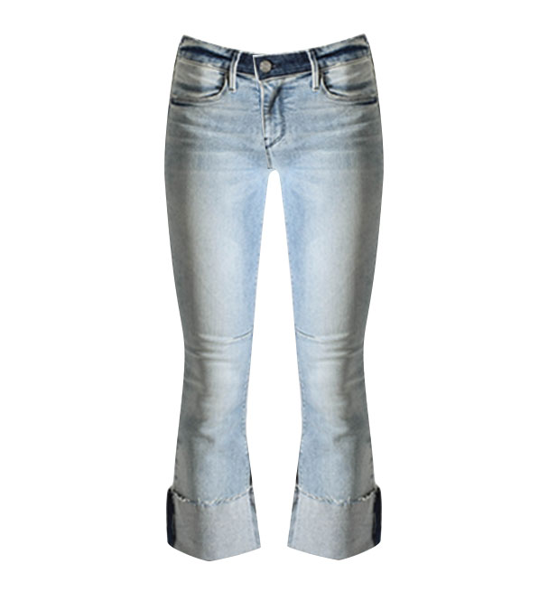 RtA Duchess Cuffed Flare Jeans in Trail Blue