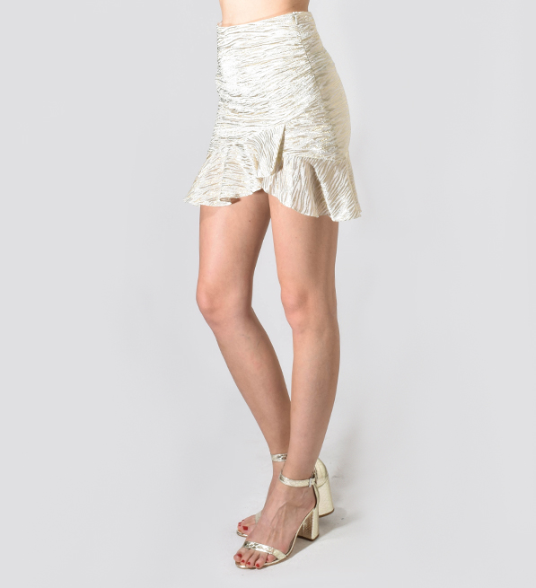 IRO Yroni Skirt in Shimmer Cream