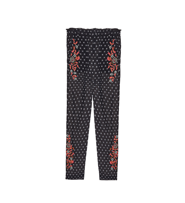 Intropia Jacquard Pants with Floral Embroidery