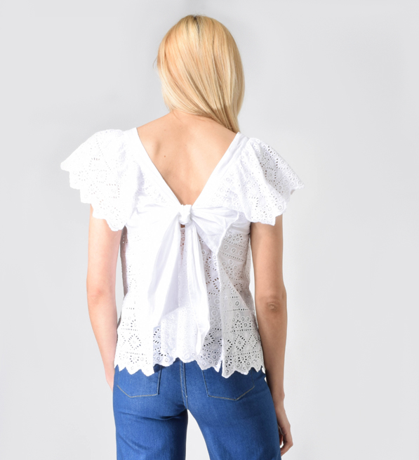 ne Quitez pas Embroidered Voile Scallopped Sleeve Top