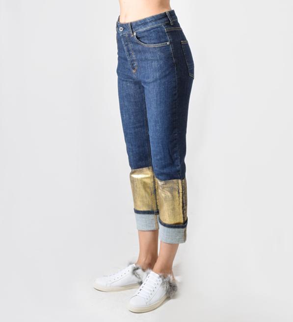 Ottod'Ame Denim Boyfriend Jeans with Golden Print