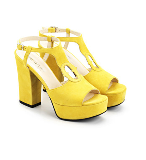 Ottod'Ame High-Heeled Suede Sandals in Yellow