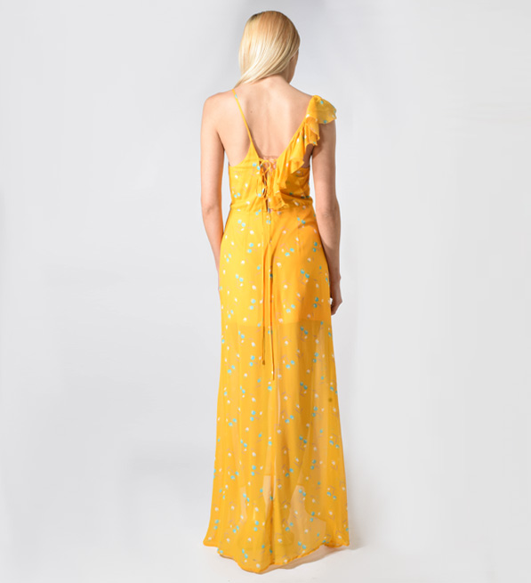 Karina Grimaldi Valeria Print Maxi Dress in Yellow