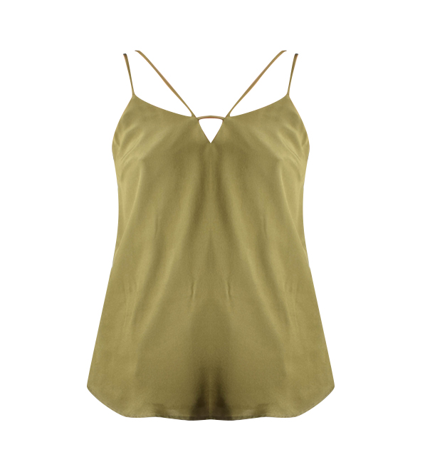 Lavender Brown Cami With Front Detail in Olive