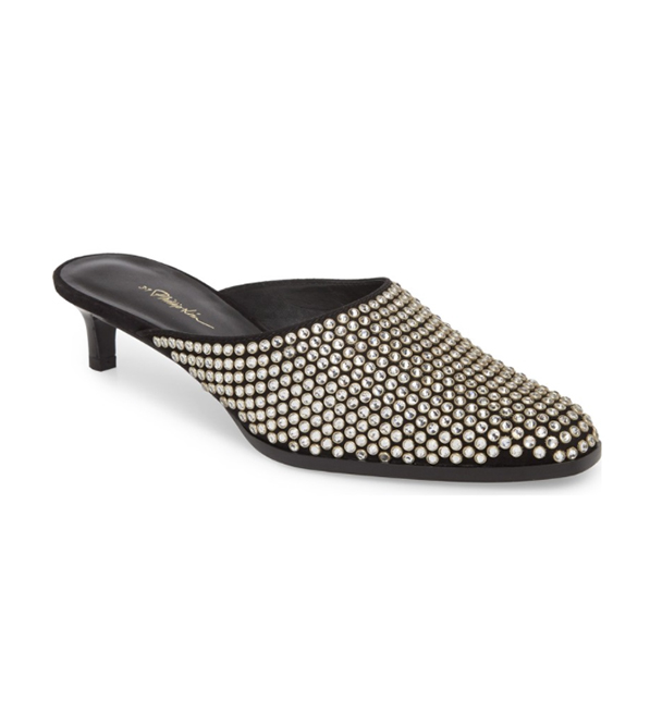 3.1 Phillip Lim Agatha 40mm Studded Kitten Mule in Black