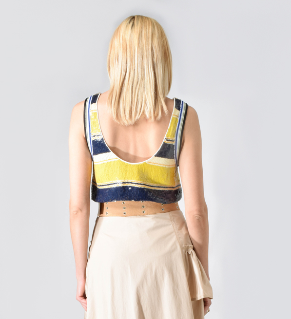 3.1 Phillip Lim Striped Sequin Tank in Yellow and Navy