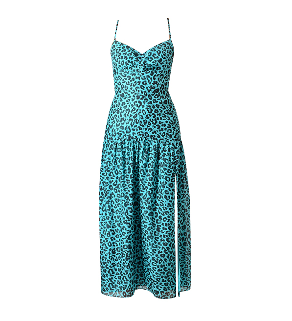 Michelle Mason Teal Leopard Silk Chiffon Midi Dress