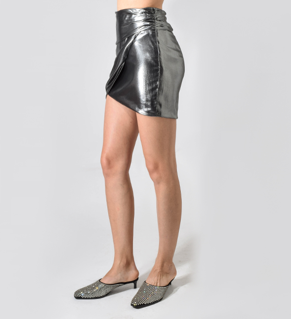 Michelle Mason Gunmetal Lame Gathered Mini Skirt