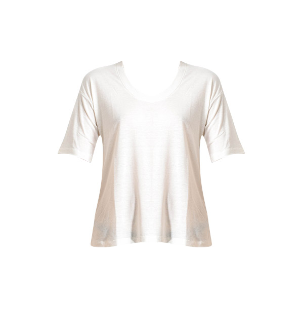 David Lerner Super Scoop Tee in Cream