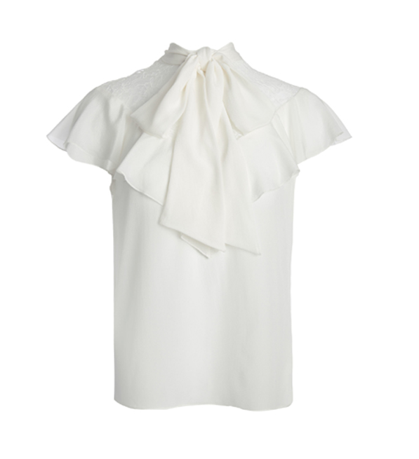 Alice + Olivia Terry Tie Neck Ruffle Blouse in Off-white