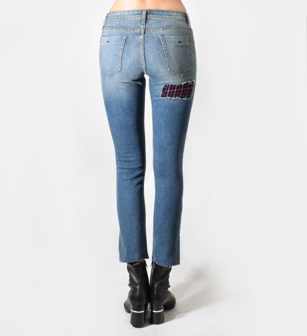 JET John Eshaya Plaid Patch Slim Jean