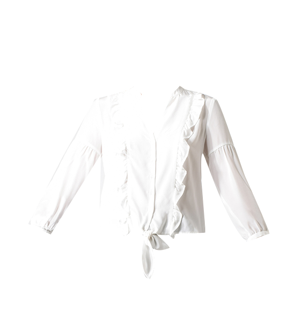 Lavender Brown Ruffle Blouse in Ivory
