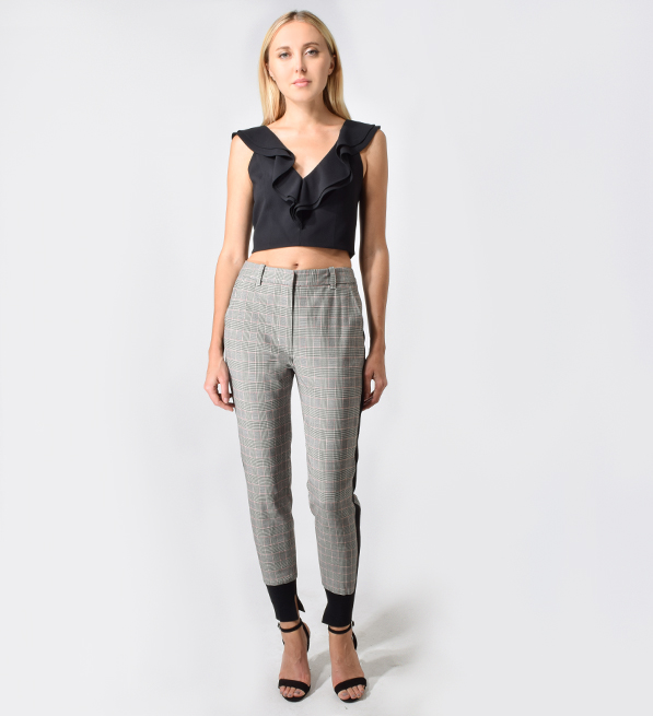 3.1 Phillip Lim Checked Wool Jogger in Black-White