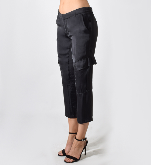 David Lerner Wide Leg Cargo Pant in Black