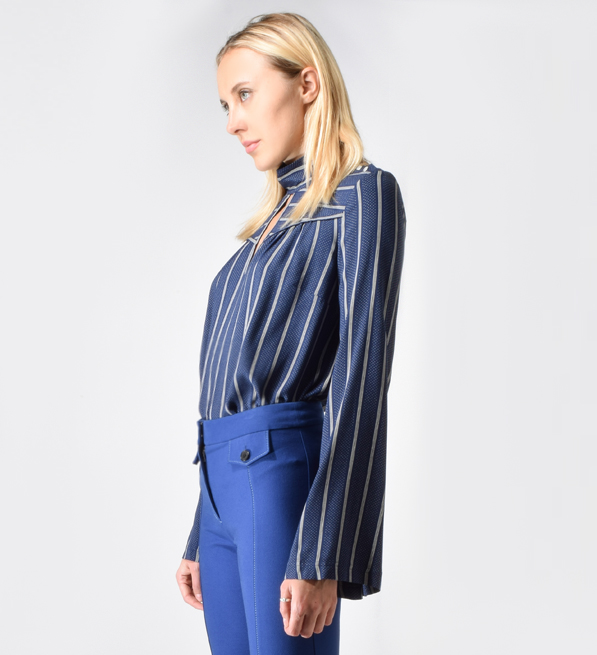 Derek Lam 10 Crosby Mock Neck Bell Sleeve Blouse in Midnight